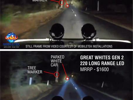 FYRLYT NEMESIS versus GREAT WHITES 220 Long Range LEDs.