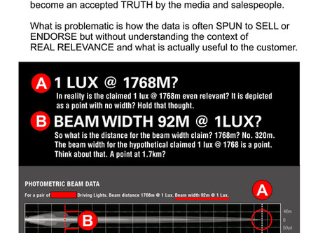 Choosing driving lights? Look at Photometric charts with care! Do not be misled by 1 LUX @ 'X&#3