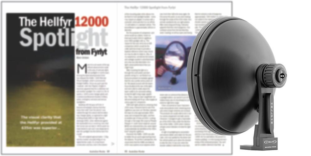 FYRLYT HELLFYR 12000 spotlight reviewed by SSAA magazine, Australian Hunter.