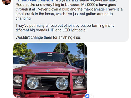 More customer feedback on FYRLYT NEMESIS 9000 driving lights.