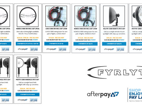 FYRLYT launches AFTERPAY purchase option.