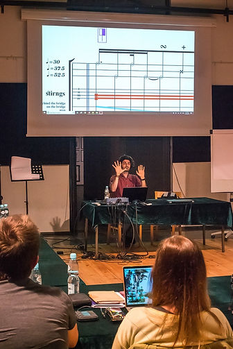 Iranian Composer Amin Sharifi presenting his music in Synthetis Composition Course in Poland