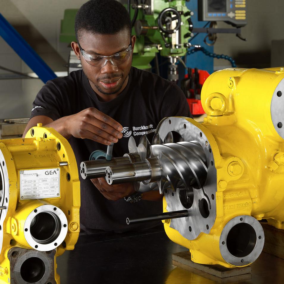 Engineer Working On Turbine