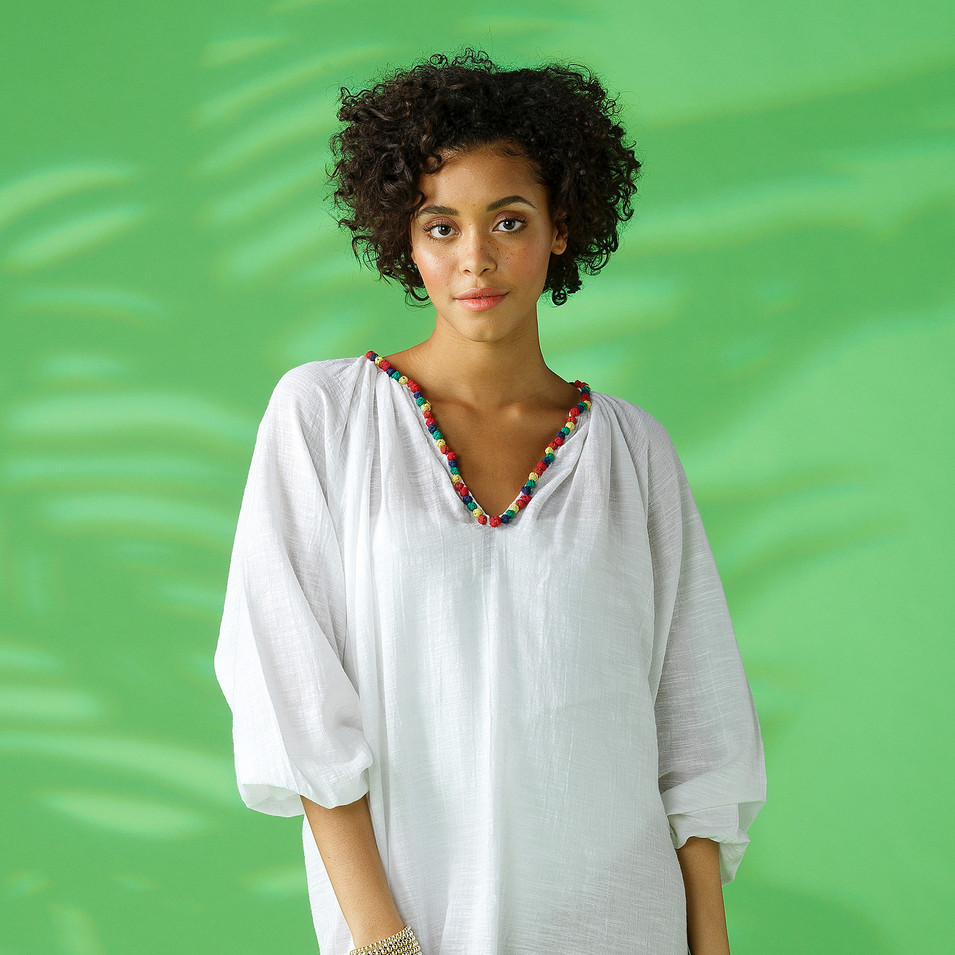 Female Model in White Dress