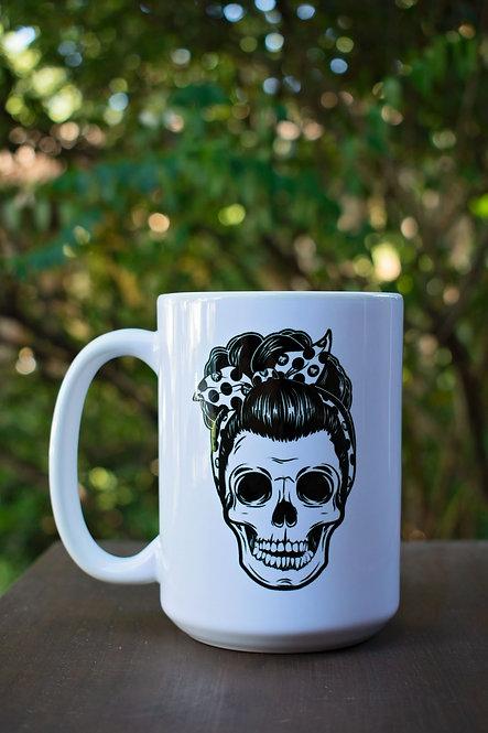 15oz White Pin Up Skull Mug