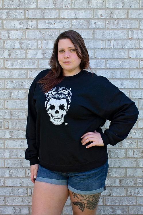 Rhonda's Pin Up Skull Crew Sweatshirt