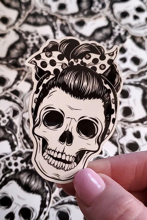 Pin Up Skull Vinyl Sticker