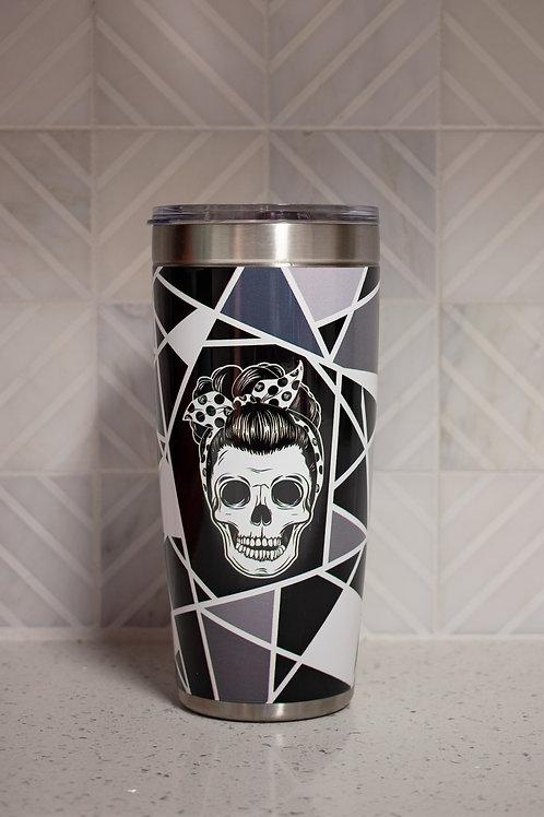 20oz Black Skull Tumbler