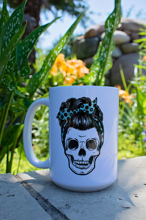 15oz Aqua Pin Up Skull Mug