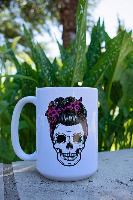 15oz Pink Pin Up Skull Mug