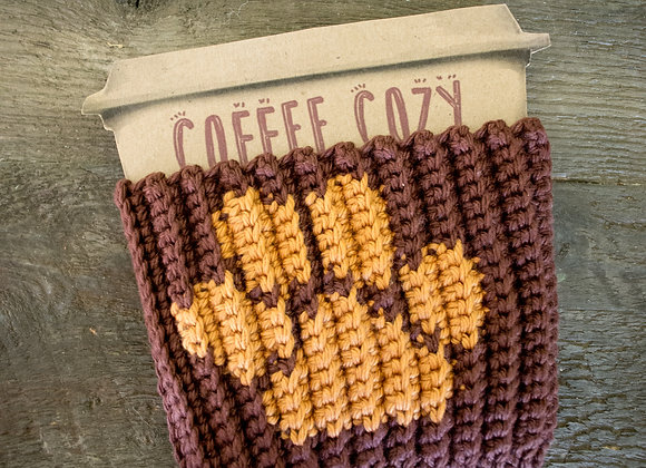 Paw Print Coffee Cozy - CROCHET PATTERN