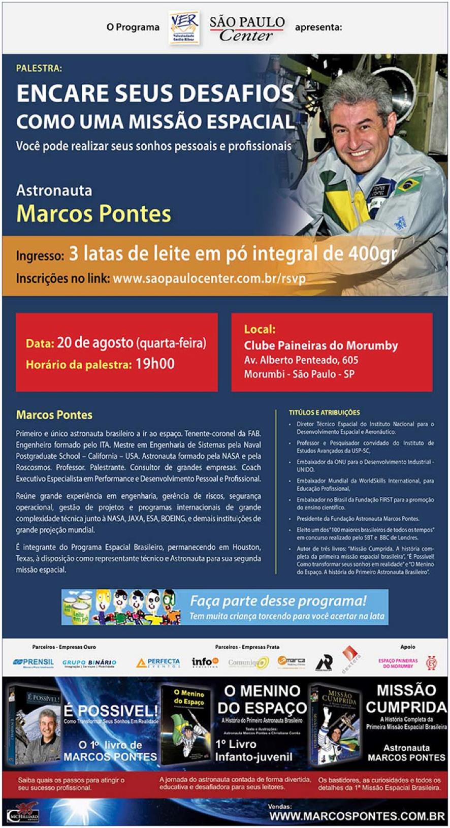 Palestra imperdível do astronauta brasileiro Marcos Pontes
