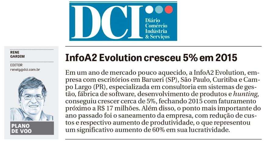 Resultados de 2015 da Info A2 em destaque no DCI