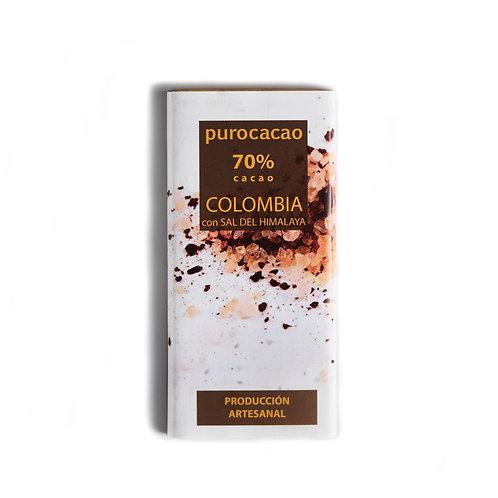 70% Colombia con Sal del Himalaya. Peso 50grs