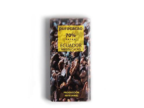 70% Ecuador, Nibs de cacao. Peso 50grs