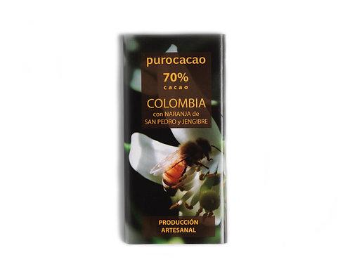 70% Colombia con naranja de San Pedro y jengibre. Peso 50grs