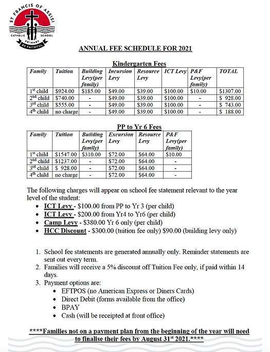 School Fee Structure 2021