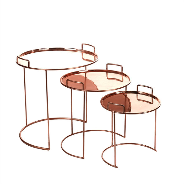 Table Tray Round Copper Set