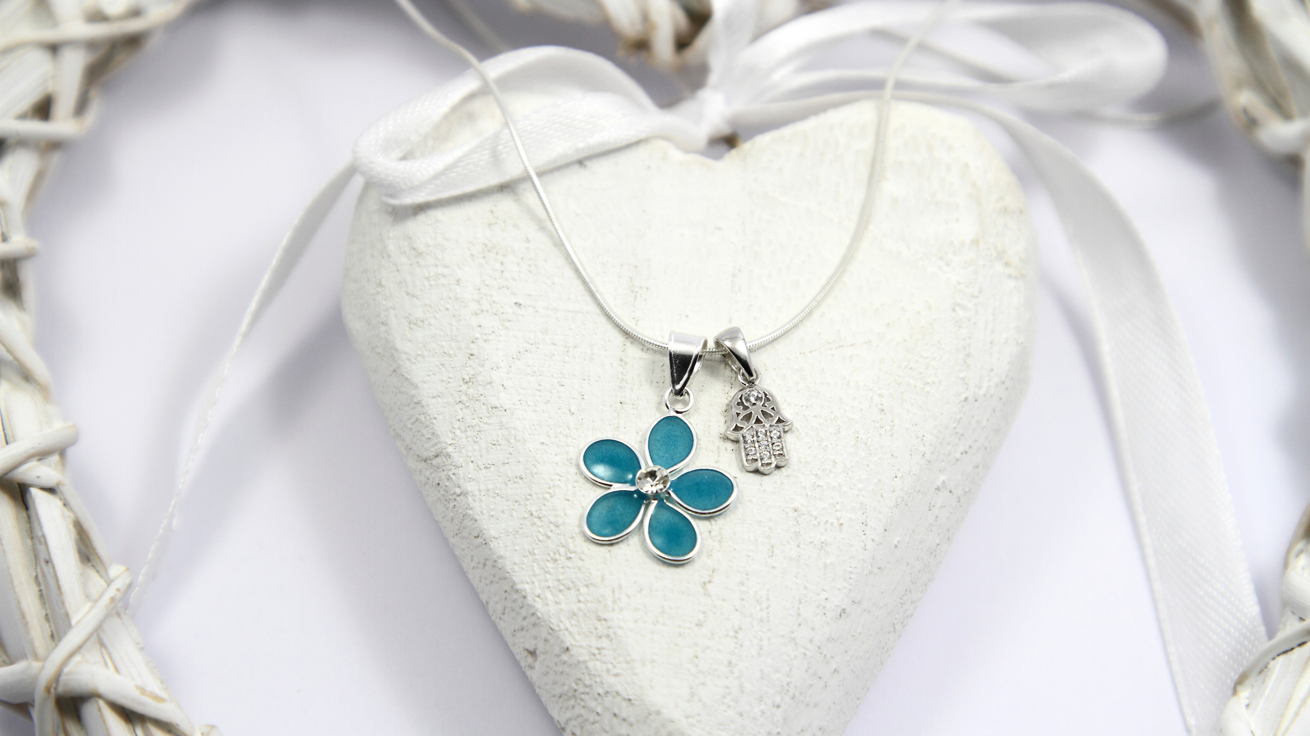 Sterling Silver Blue Flower and Hamsa Charm Necklace