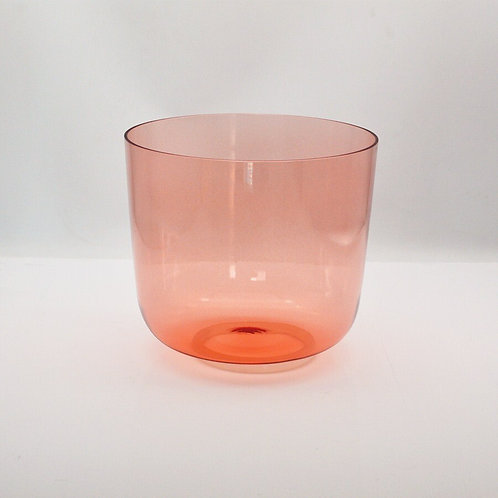 HF Orange  Clear Crystal Singing Bowl 8 Inches Colored for Meditation