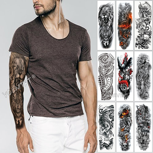 Large Arm Sleeve Tattoo Sketch wild animal Waterproof Temporary Tattoo