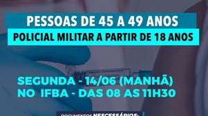 VACINAÇÃO COVID-19 - (CORRIGIDO)SEMANA DE 14/06 A 19/06SECRETARIA DA SAÚDE, PREFEITURA DE UBAITABA