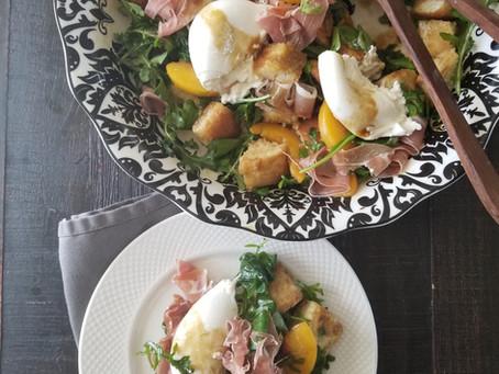 Grilled Peach, Prosciutto and Burrata Panzanella Salad
