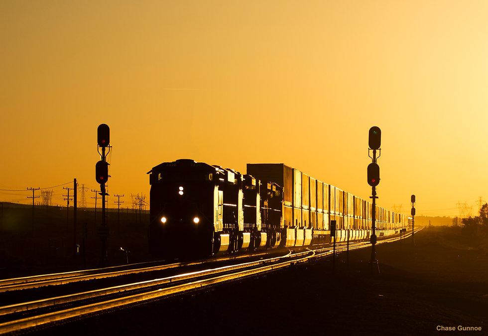 train at dusk