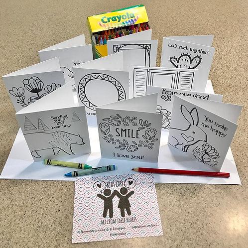 Kids Care Coloring Cards -- 10 Cards& Envelopes Per Pack
