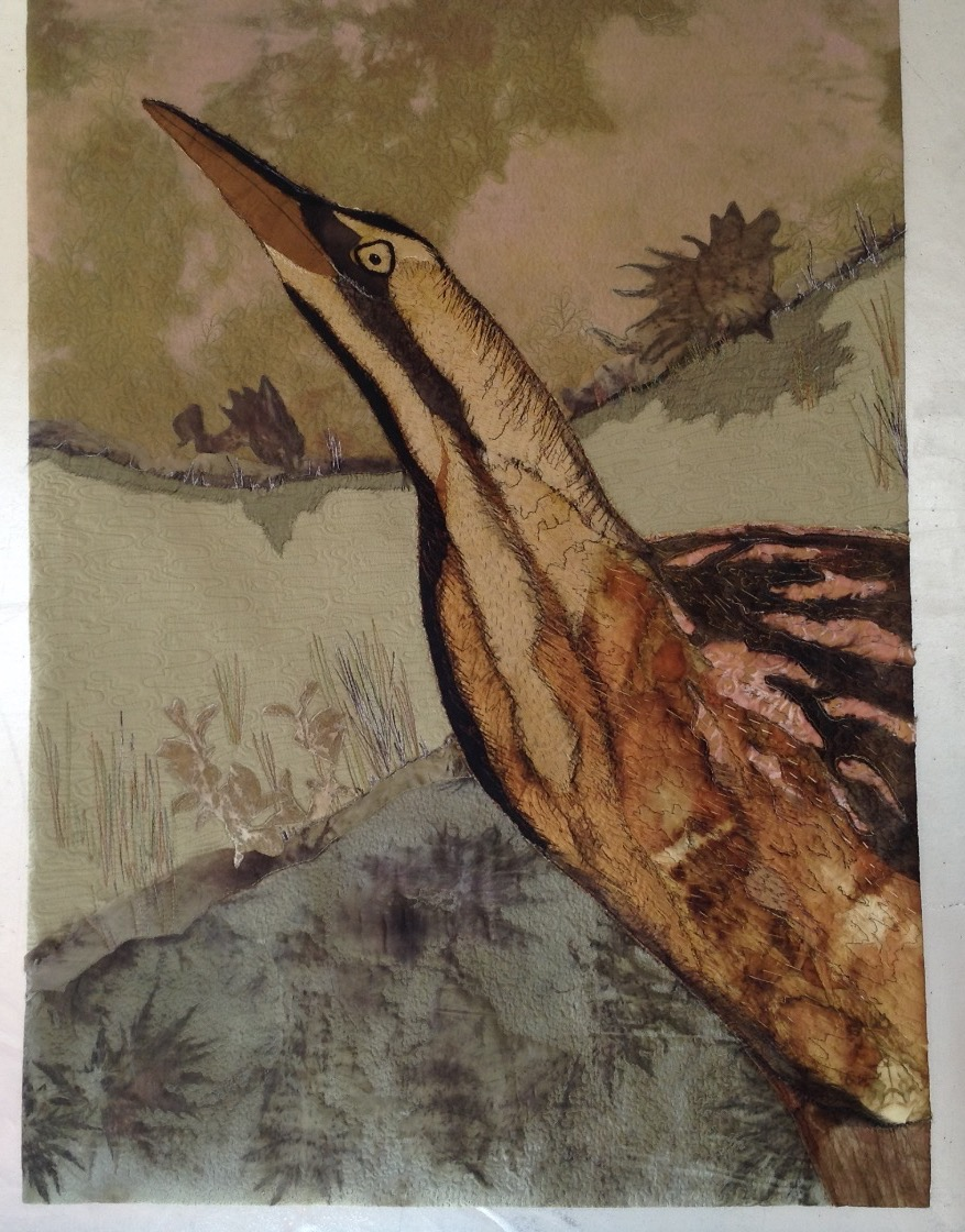 Bittern, applique,Eco and natural dy