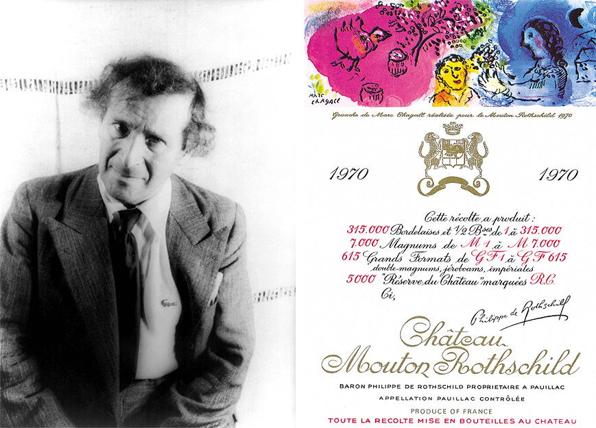Марк Шагал (1970 г.) этикетка вина мутон ротшильд
