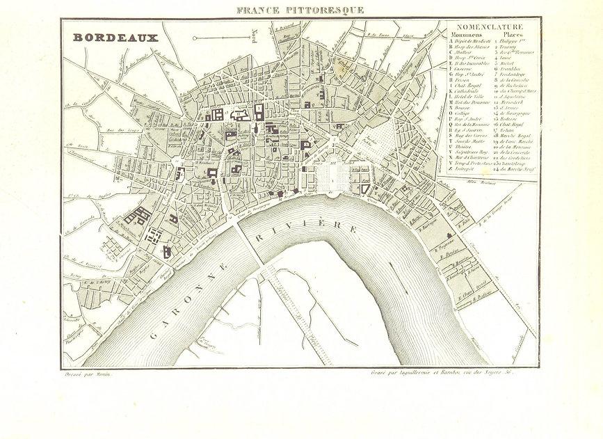 Старая карта региона Бордо 1835 год