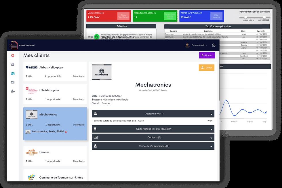 SmartProposal propose les fonctionnalités principales d'un CRM