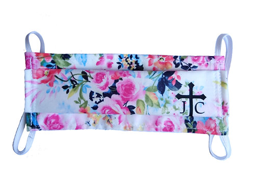 Floral Mask w/ Cross