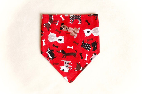 Red Dog and Bone Scarf