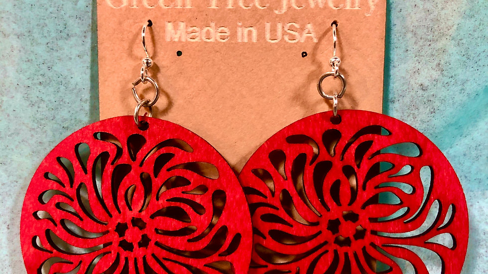 Red Round Floral Earrings