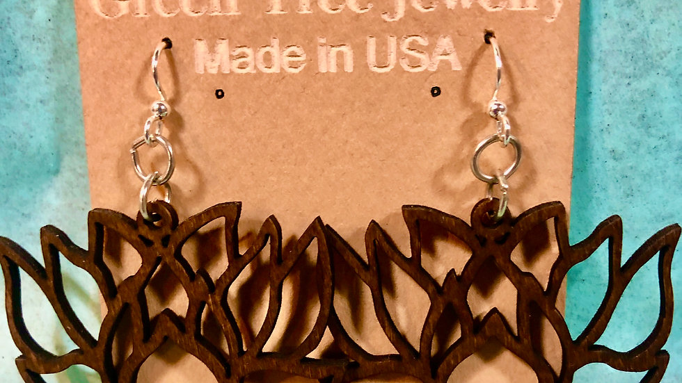 Walnut Lotus Flower Earrings