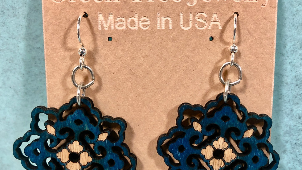 Indigo Snowflake Earrings