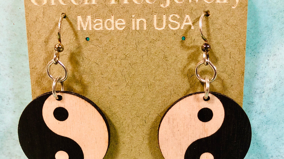 Yin and Yang black and tan Earrings