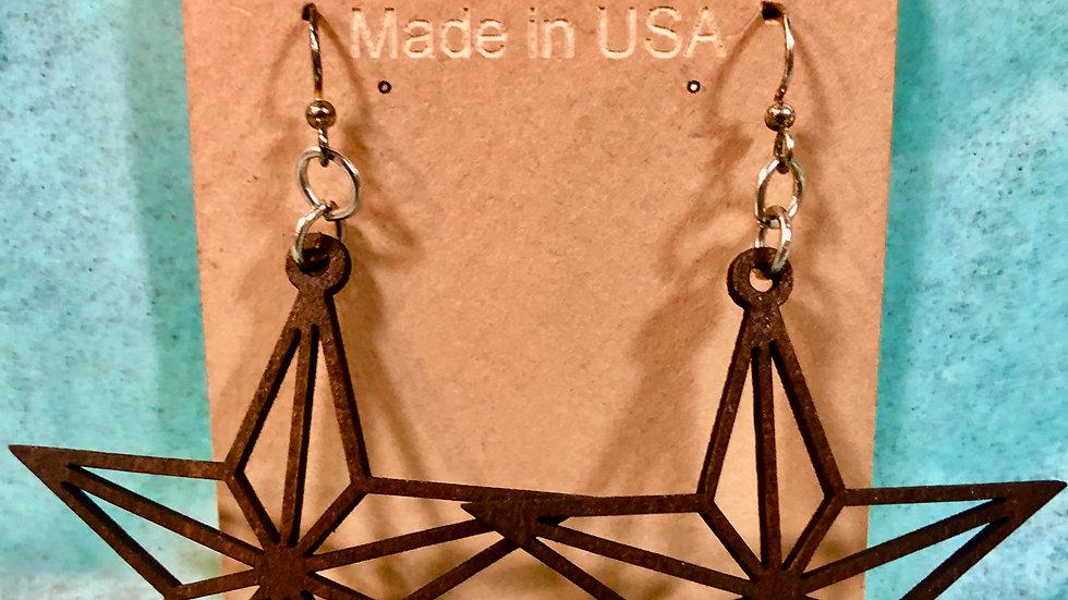 Walnut Star Earrings
