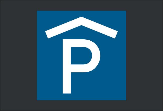 Symbol Parkhaus - blau hinterlegt