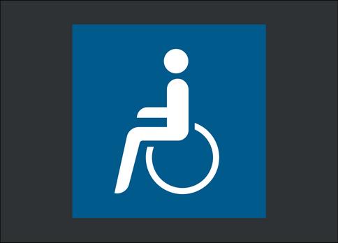 Behinderten-Symbol - blau hinterlegt