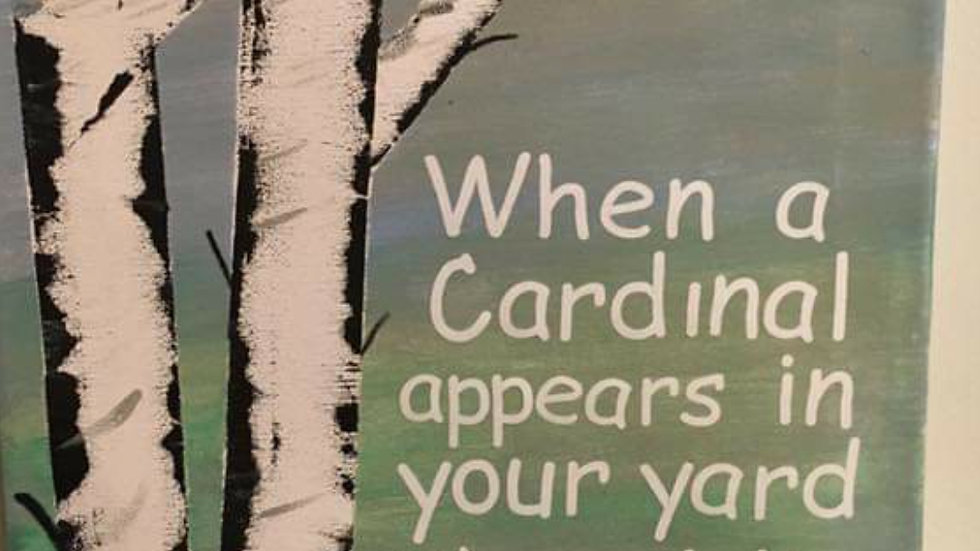 Cardinal Apprears Wooden Sign