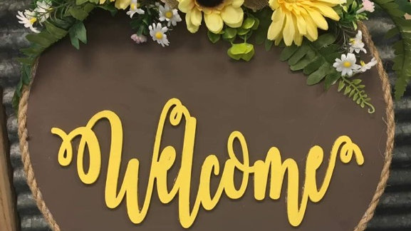 Sunflower Welcome Wood Circle Sign