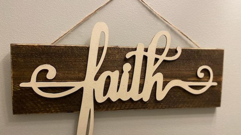 Faith-walnut wooden sign