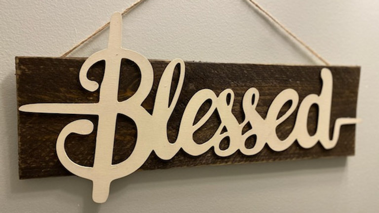 Blessed-walnut wooden sign
