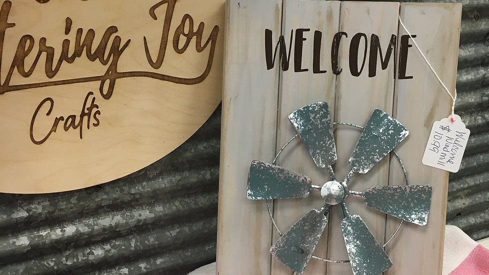 Welcome Windmill Wooden Sign