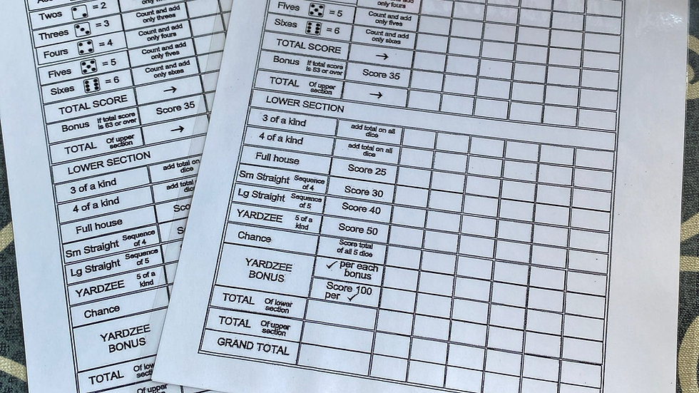 Yardzee Score Cards