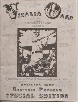 1982 Visalia Oaks Program