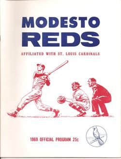 1969 Modesto Reds Program